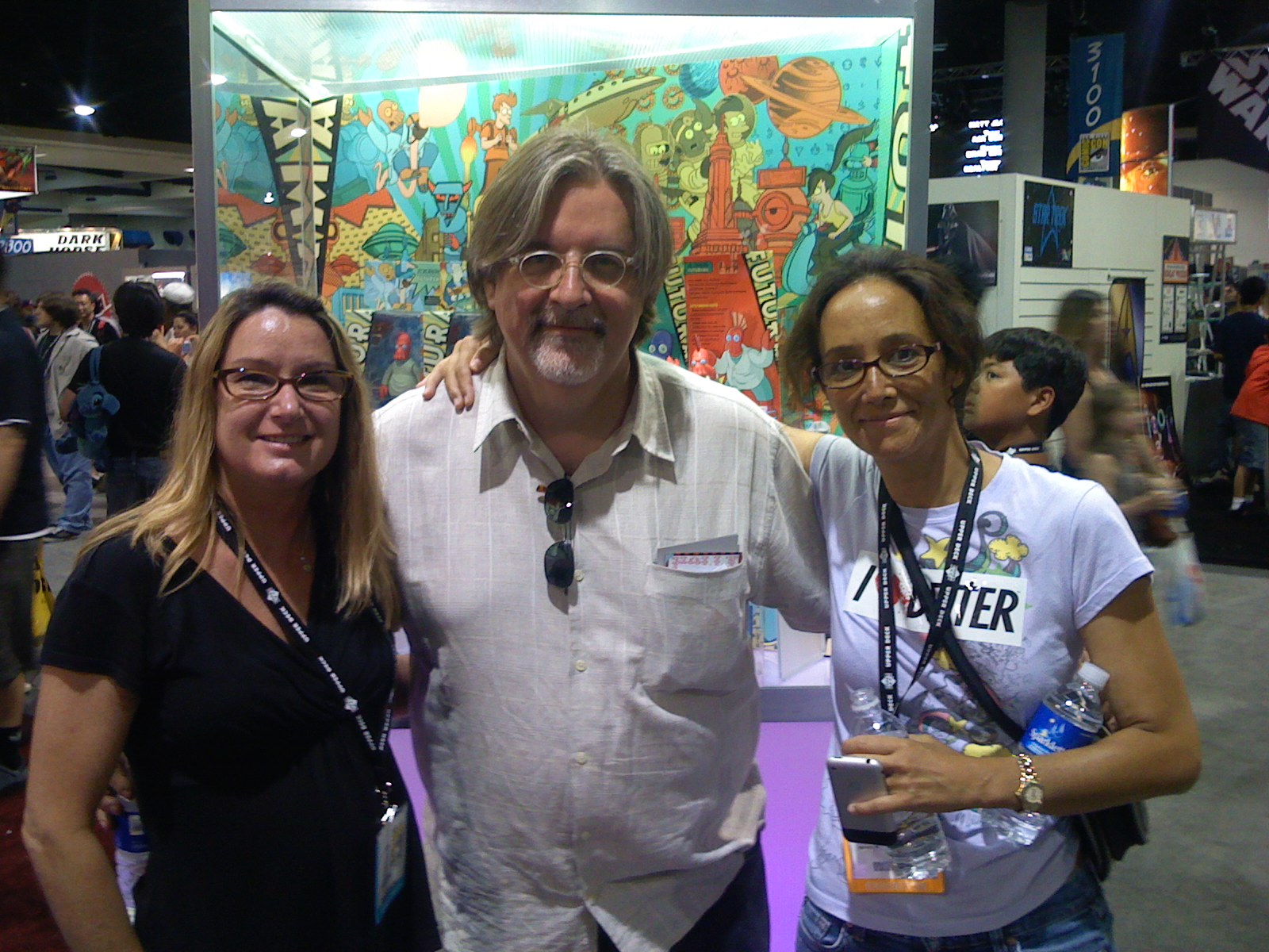 Gillian with friends, Matt Groening and Mili Smythe at COMICON